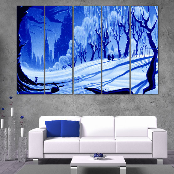 Canvas prints & wall decorative panels - 5 pieces №0865 » Blue, Turquoise, Black, Gray » Drawing, Art, Snow, Winter, Ice, Silhouette, Season, Snowy, Outdoor, Cold Form #2