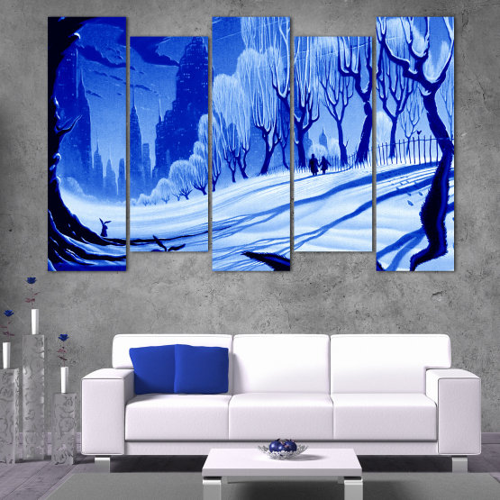 Canvas prints & wall decorative panels - 5 pieces №0865 » Blue, Turquoise, Black, Gray » Drawing, Art, Snow, Winter, Ice, Silhouette, Season, Snowy, Outdoor, Cold Form #3