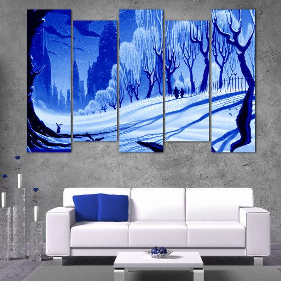 Εκτύπωση σε καμβά και διακοσμητικά πάνελ τοίχου - 5 τεμάχια №0865 » Μπλε, Τουρκουάζ, Μαύρος, Γκρί » Σχέδιο, Τέχνη, Χιόνι, Χειμώνας, Πάγος, Σιλουέτα, Εποχή, Χιονώδης, Εξωτερικου χωρου, Κρύο Form #3
