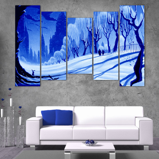 Εκτύπωση σε καμβά και διακοσμητικά πάνελ τοίχου - 5 τεμάχια №0865 » Μπλε, Τουρκουάζ, Μαύρος, Γκρί » Σχέδιο, Τέχνη, Χιόνι, Χειμώνας, Πάγος, Σιλουέτα, Εποχή, Χιονώδης, Εξωτερικου χωρου, Κρύο Form #4