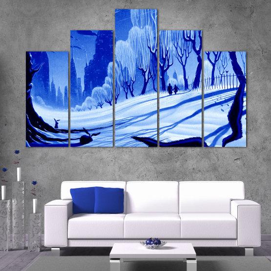 Εκτύπωση σε καμβά και διακοσμητικά πάνελ τοίχου - 5 τεμάχια №0865 » Μπλε, Τουρκουάζ, Μαύρος, Γκρί » Σχέδιο, Τέχνη, Χιόνι, Χειμώνας, Πάγος, Σιλουέτα, Εποχή, Χιονώδης, Εξωτερικου χωρου, Κρύο Form #5