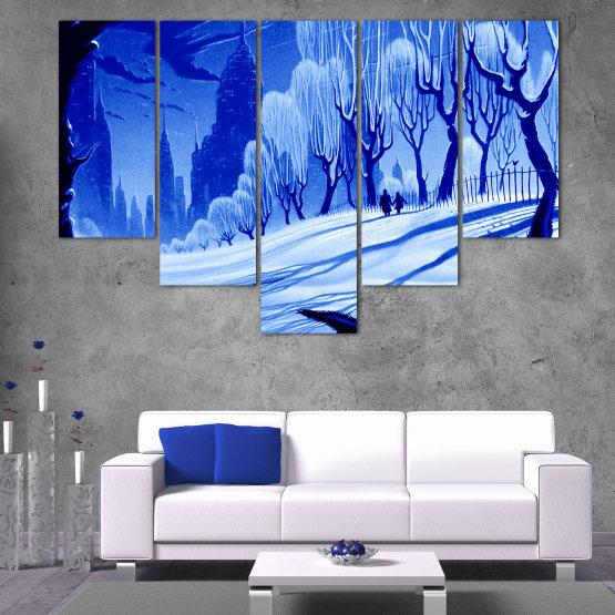 Εκτύπωση σε καμβά και διακοσμητικά πάνελ τοίχου - 5 τεμάχια №0865 » Μπλε, Τουρκουάζ, Μαύρος, Γκρί » Σχέδιο, Τέχνη, Χιόνι, Χειμώνας, Πάγος, Σιλουέτα, Εποχή, Χιονώδης, Εξωτερικου χωρου, Κρύο Form #6
