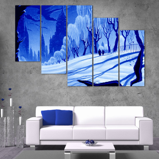 Canvas prints & wall decorative panels - 5 pieces №0865 » Blue, Turquoise, Black, Gray » Drawing, Art, Snow, Winter, Ice, Silhouette, Season, Snowy, Outdoor, Cold Form #7