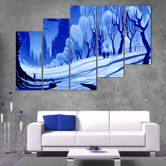Εκτύπωση σε καμβά και διακοσμητικά πάνελ τοίχου - 5 τεμάχια №0865 » Μπλε, Τουρκουάζ, Μαύρος, Γκρί » Σχέδιο, Τέχνη, Χιόνι, Χειμώνας, Πάγος, Σιλουέτα, Εποχή, Χιονώδης, Εξωτερικου χωρου, Κρύο Form #8
