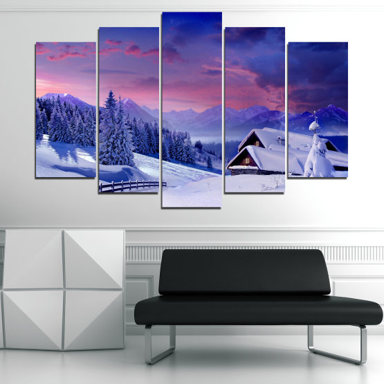 Canvas prints & wall decorative panels - 5 pieces №0866 » Purple, Blue, Gray » Landscape, Forest, Mountain, Tree, Sky, Snow, Winter, Sport, Ice, Outdoors, Wild, Vacation, Peace, Season, Snowy, Peak, Slope, Cold Form #1