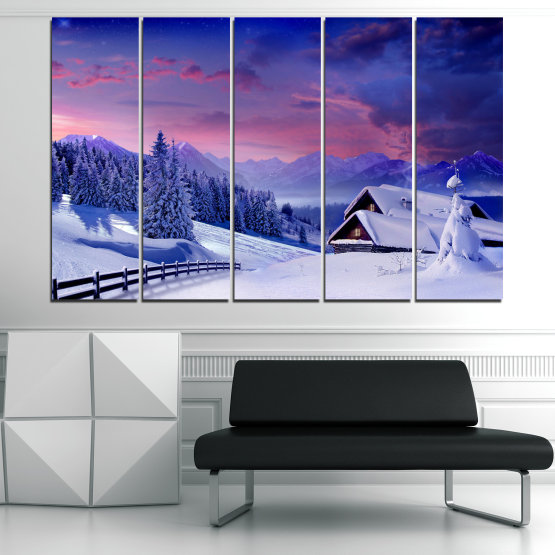 Canvas prints & wall decorative panels - 5 pieces №0866 » Purple, Blue, Gray » Landscape, Forest, Mountain, Tree, Sky, Snow, Winter, Sport, Ice, Outdoors, Wild, Vacation, Peace, Season, Snowy, Peak, Slope, Cold Form #2