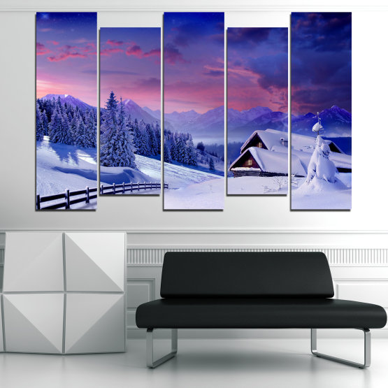 Canvas prints & wall decorative panels - 5 pieces №0866 » Purple, Blue, Gray » Landscape, Forest, Mountain, Tree, Sky, Snow, Winter, Sport, Ice, Outdoors, Wild, Vacation, Peace, Season, Snowy, Peak, Slope, Cold Form #3