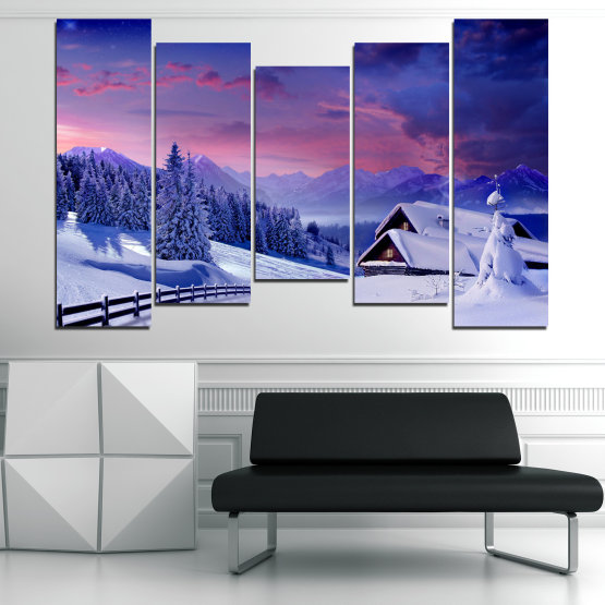 Canvas prints & wall decorative panels - 5 pieces №0866 » Purple, Blue, Gray » Landscape, Forest, Mountain, Tree, Sky, Snow, Winter, Sport, Ice, Outdoors, Wild, Vacation, Peace, Season, Snowy, Peak, Slope, Cold Form #4
