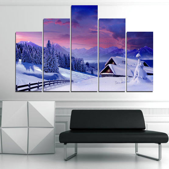 Canvas prints & wall decorative panels - 5 pieces №0866 » Purple, Blue, Gray » Landscape, Forest, Mountain, Tree, Sky, Snow, Winter, Sport, Ice, Outdoors, Wild, Vacation, Peace, Season, Snowy, Peak, Slope, Cold Form #5