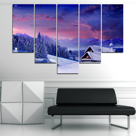 Canvas prints & wall decorative panels - 5 pieces №0866 » Purple, Blue, Gray » Landscape, Forest, Mountain, Tree, Sky, Snow, Winter, Sport, Ice, Outdoors, Wild, Vacation, Peace, Season, Snowy, Peak, Slope, Cold Form #6