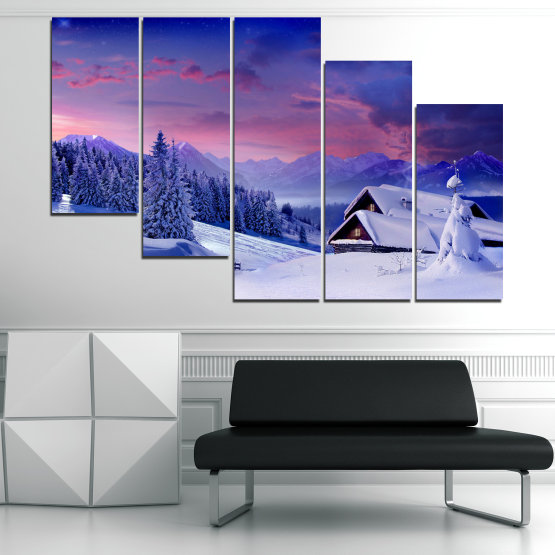 Canvas prints & wall decorative panels - 5 pieces №0866 » Purple, Blue, Gray » Landscape, Forest, Mountain, Tree, Sky, Snow, Winter, Sport, Ice, Outdoors, Wild, Vacation, Peace, Season, Snowy, Peak, Slope, Cold Form #7