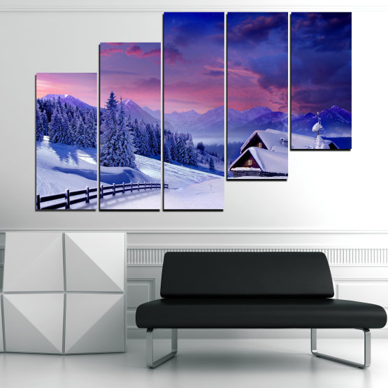 Canvas prints & wall decorative panels - 5 pieces №0866 » Purple, Blue, Gray » Landscape, Forest, Mountain, Tree, Sky, Snow, Winter, Sport, Ice, Outdoors, Wild, Vacation, Peace, Season, Snowy, Peak, Slope, Cold Form #8
