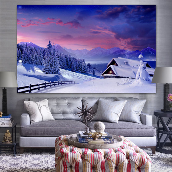 Canvas prints & wall decorative panels - 1 piece №0866 » Purple, Blue, Gray » Landscape, Forest, Mountain, Tree, Sky, Snow, Winter, Sport, Ice, Outdoors, Wild, Vacation, Peace, Season, Snowy, Peak, Slope, Cold Form #1