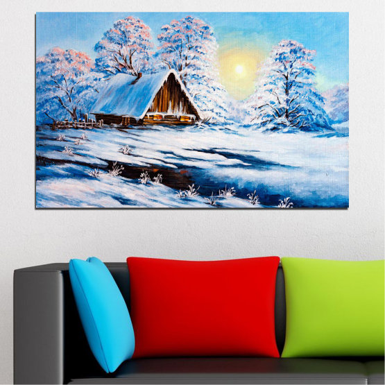 Canvas prints & wall decorative panels - 1 piece №0867 » Turquoise, Gray, White » Landscape, Forest, Mountain, Sky, Trees, Snow, Winter, Ice, Outdoors, Travel, Season, Tranquil, Frozen, Frost, Peak, Cold Form #1