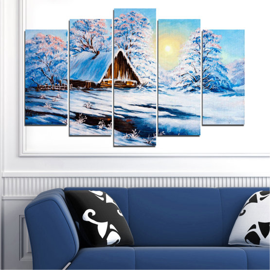 Canvas prints & wall decorative panels - 5 pieces №0867 » Turquoise, Gray, White » Landscape, Forest, Mountain, Sky, Trees, Snow, Winter, Ice, Outdoors, Travel, Season, Tranquil, Frozen, Frost, Peak, Cold Form #1