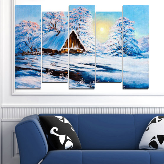 Canvas prints & wall decorative panels - 5 pieces №0867 » Turquoise, Gray, White » Landscape, Forest, Mountain, Sky, Trees, Snow, Winter, Ice, Outdoors, Travel, Season, Tranquil, Frozen, Frost, Peak, Cold Form #3