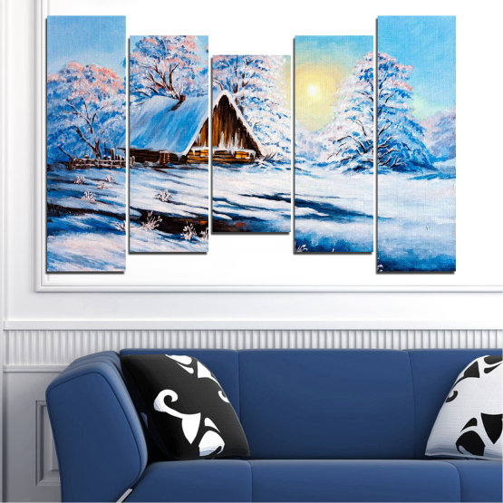 Canvas prints & wall decorative panels - 5 pieces №0867 » Turquoise, Gray, White » Landscape, Forest, Mountain, Sky, Trees, Snow, Winter, Ice, Outdoors, Travel, Season, Tranquil, Frozen, Frost, Peak, Cold Form #4