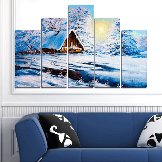 Canvas prints & wall decorative panels - 5 pieces №0867 » Turquoise, Gray, White » Landscape, Forest, Mountain, Sky, Trees, Snow, Winter, Ice, Outdoors, Travel, Season, Tranquil, Frozen, Frost, Peak, Cold Form #5