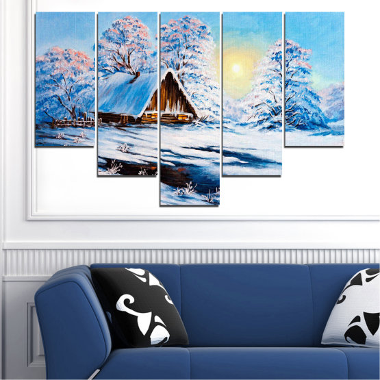 Canvas prints & wall decorative panels - 5 pieces №0867 » Turquoise, Gray, White » Landscape, Forest, Mountain, Sky, Trees, Snow, Winter, Ice, Outdoors, Travel, Season, Tranquil, Frozen, Frost, Peak, Cold Form #6