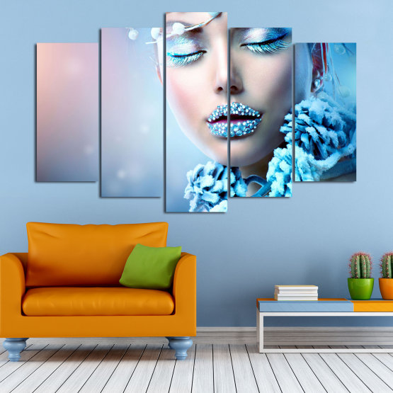 Canvas prints & wall decorative panels - 5 pieces №0868 » Turquoise, Gray, Dark grey » Exotic, Fashion, Portrait, Sexy, Makeup, Eyes, Face, Pretty, Attractive, Lips, Model Form #1