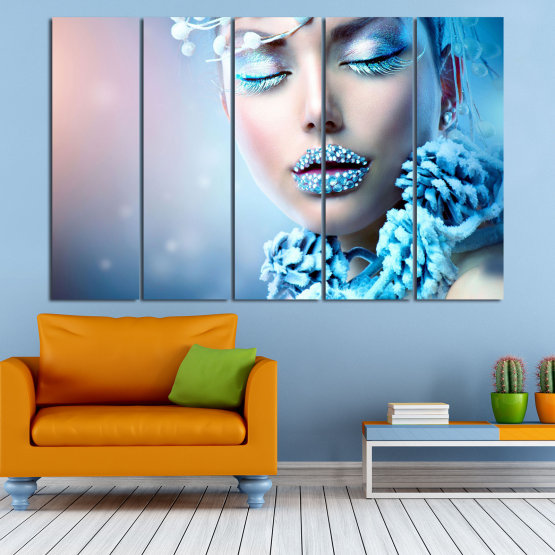 Canvas prints & wall decorative panels - 5 pieces №0868 » Turquoise, Gray, Dark grey » Exotic, Fashion, Portrait, Sexy, Makeup, Eyes, Face, Pretty, Attractive, Lips, Model Form #2