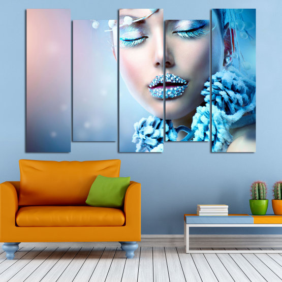 Canvas prints & wall decorative panels - 5 pieces №0868 » Turquoise, Gray, Dark grey » Exotic, Fashion, Portrait, Sexy, Makeup, Eyes, Face, Pretty, Attractive, Lips, Model Form #3