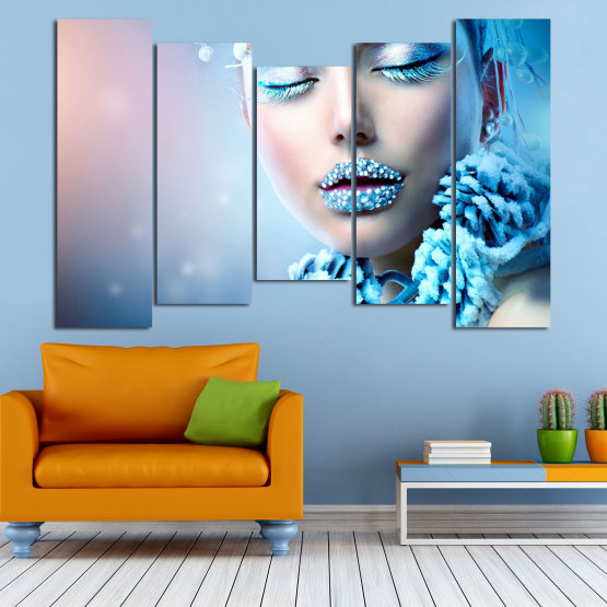 Canvas prints & wall decorative panels - 5 pieces №0868 » Turquoise, Gray, Dark grey » Exotic, Fashion, Portrait, Sexy, Makeup, Eyes, Face, Pretty, Attractive, Lips, Model Form #4
