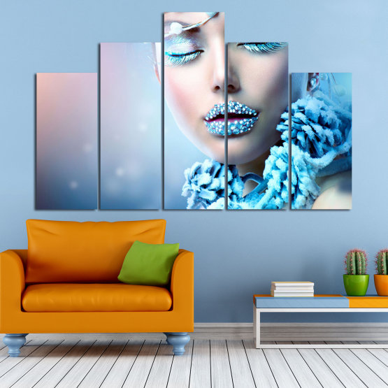 Canvas prints & wall decorative panels - 5 pieces №0868 » Turquoise, Gray, Dark grey » Exotic, Fashion, Portrait, Sexy, Makeup, Eyes, Face, Pretty, Attractive, Lips, Model Form #5