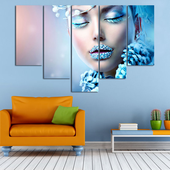 Canvas prints & wall decorative panels - 5 pieces №0868 » Turquoise, Gray, Dark grey » Exotic, Fashion, Portrait, Sexy, Makeup, Eyes, Face, Pretty, Attractive, Lips, Model Form #6
