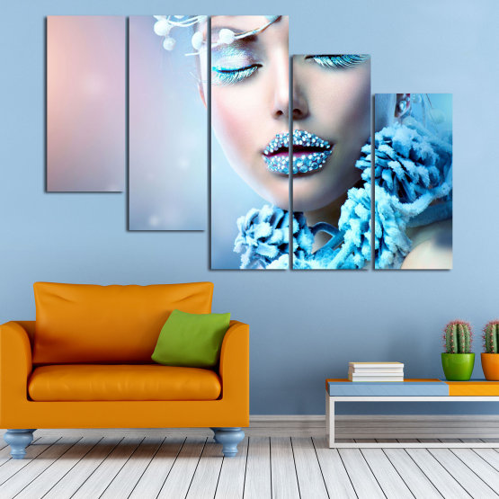 Canvas prints & wall decorative panels - 5 pieces №0868 » Turquoise, Gray, Dark grey » Exotic, Fashion, Portrait, Sexy, Makeup, Eyes, Face, Pretty, Attractive, Lips, Model Form #7