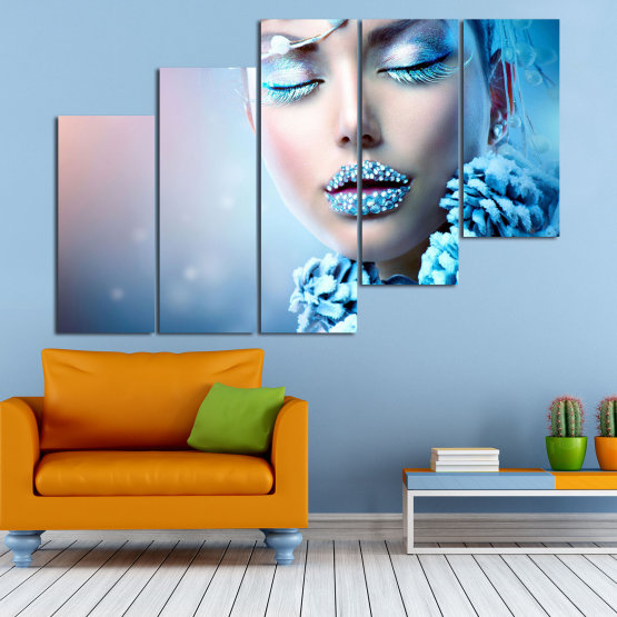Canvas prints & wall decorative panels - 5 pieces №0868 » Turquoise, Gray, Dark grey » Exotic, Fashion, Portrait, Sexy, Makeup, Eyes, Face, Pretty, Attractive, Lips, Model Form #8