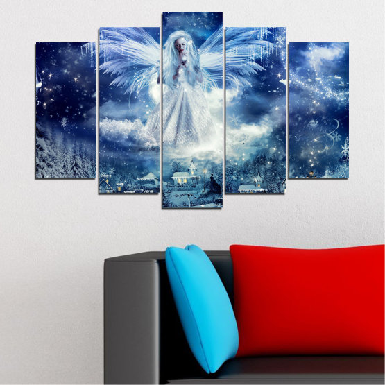 Canvas prints & wall decorative panels - 5 pieces №0869 » Blue, Black, Gray, Dark grey » Galaxy, Angel, Space, Sky, Moon, Artwork, Shine, Night, Light, Planet, Snow, Winter, Ice, Glow, Fantasy, Stars, Magic, Glitter, Rays, Snowflake Form #1