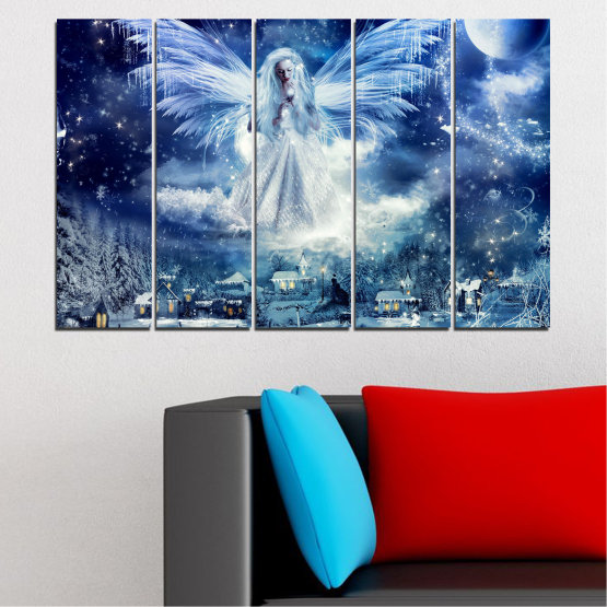 Canvas prints & wall decorative panels - 5 pieces №0869 » Blue, Black, Gray, Dark grey » Galaxy, Angel, Space, Sky, Moon, Artwork, Shine, Night, Light, Planet, Snow, Winter, Ice, Glow, Fantasy, Stars, Magic, Glitter, Rays, Snowflake Form #2