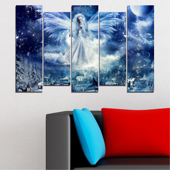 Canvas prints & wall decorative panels - 5 pieces №0869 » Blue, Black, Gray, Dark grey » Galaxy, Angel, Space, Sky, Moon, Artwork, Shine, Night, Light, Planet, Snow, Winter, Ice, Glow, Fantasy, Stars, Magic, Glitter, Rays, Snowflake Form #3