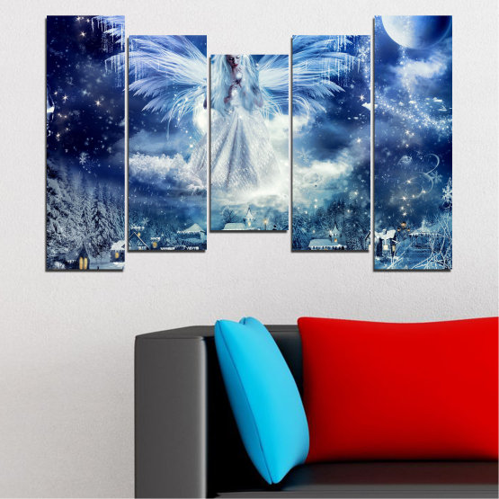 Canvas prints & wall decorative panels - 5 pieces №0869 » Blue, Black, Gray, Dark grey » Galaxy, Angel, Space, Sky, Moon, Artwork, Shine, Night, Light, Planet, Snow, Winter, Ice, Glow, Fantasy, Stars, Magic, Glitter, Rays, Snowflake Form #4