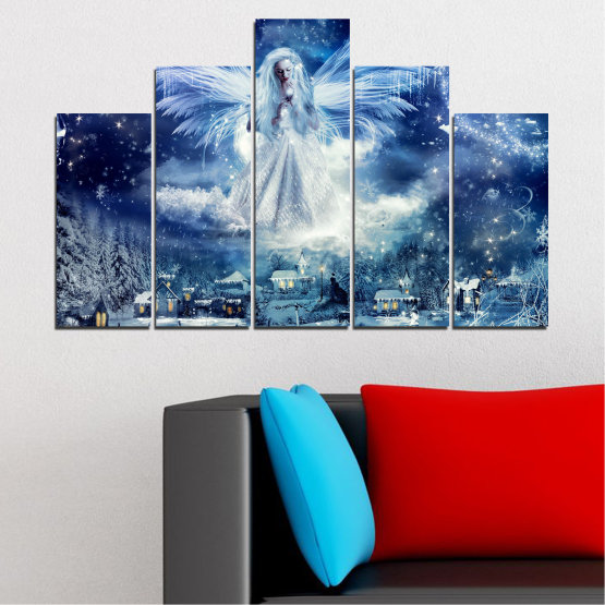 Canvas prints & wall decorative panels - 5 pieces №0869 » Blue, Black, Gray, Dark grey » Galaxy, Angel, Space, Sky, Moon, Artwork, Shine, Night, Light, Planet, Snow, Winter, Ice, Glow, Fantasy, Stars, Magic, Glitter, Rays, Snowflake Form #5