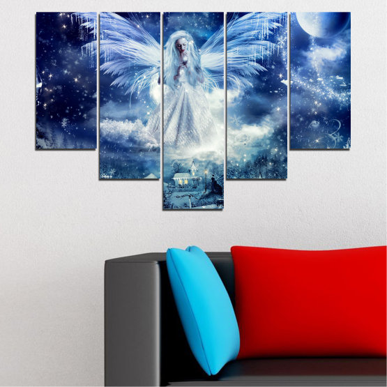 Canvas prints & wall decorative panels - 5 pieces №0869 » Blue, Black, Gray, Dark grey » Galaxy, Angel, Space, Sky, Moon, Artwork, Shine, Night, Light, Planet, Snow, Winter, Ice, Glow, Fantasy, Stars, Magic, Glitter, Rays, Snowflake Form #6