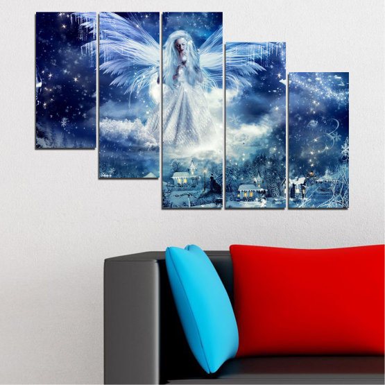 Canvas prints & wall decorative panels - 5 pieces №0869 » Blue, Black, Gray, Dark grey » Galaxy, Angel, Space, Sky, Moon, Artwork, Shine, Night, Light, Planet, Snow, Winter, Ice, Glow, Fantasy, Stars, Magic, Glitter, Rays, Snowflake Form #7