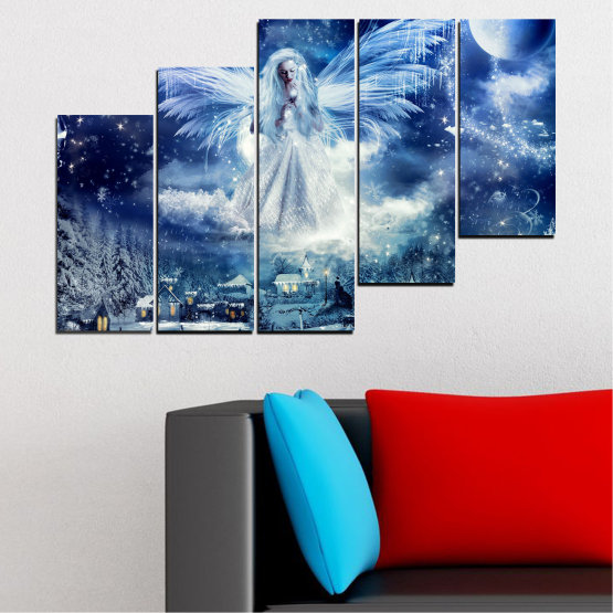 Canvas prints & wall decorative panels - 5 pieces №0869 » Blue, Black, Gray, Dark grey » Galaxy, Angel, Space, Sky, Moon, Artwork, Shine, Night, Light, Planet, Snow, Winter, Ice, Glow, Fantasy, Stars, Magic, Glitter, Rays, Snowflake Form #8