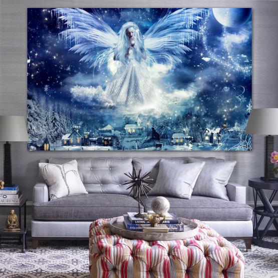 Εκτύπωση σε καμβά και διακοσμητικά πάνελ τοίχου - 1 τεμάχιο №0869 » Μπλε, Μαύρος, Γκρί, Σκούρο γκρι » Γαλαξίας, Άγγελος, Χώρος, Ουρανός, Φεγγάρι, Έργα τέχνης, Λάμψη, Φως, Βράδυ, Πλανήτης, Χιόνι, Χειμώνας, Πάγος, Λάμψη, Φαντασία, Αστέρια, Μαγεία, Λάμψη, Ακτίνες, Νιφάδα χιονιού Form #1
