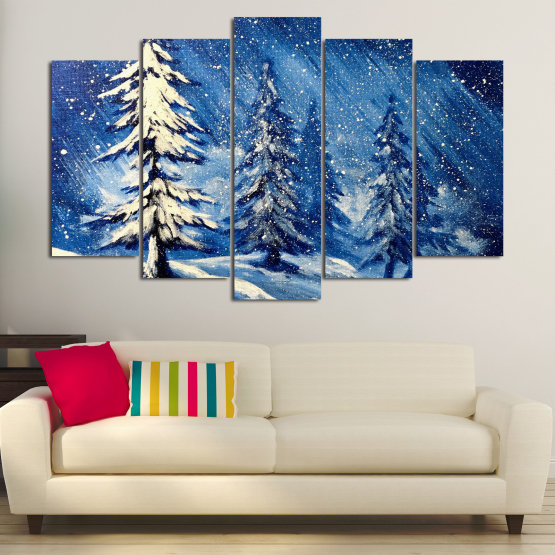 Canvas prints & wall decorative panels - 5 pieces №0870 » Blue, Black, Gray, White, Dark grey » Landscape, Forest, Tree, Snow, Winter, Ice, Season, Weather, Snowflake, Frozen, Frost, Cold Form #1