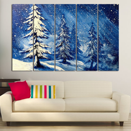Canvas prints & wall decorative panels - 5 pieces №0870 » Blue, Black, Gray, White, Dark grey » Landscape, Forest, Tree, Snow, Winter, Ice, Season, Weather, Snowflake, Frozen, Frost, Cold Form #2