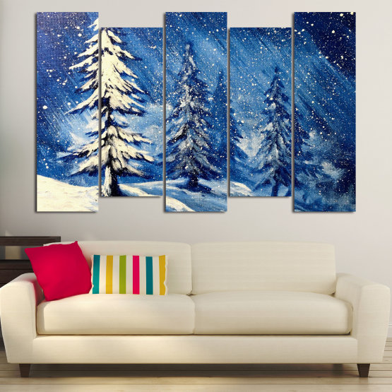 Canvas prints & wall decorative panels - 5 pieces №0870 » Blue, Black, Gray, White, Dark grey » Landscape, Forest, Tree, Snow, Winter, Ice, Season, Weather, Snowflake, Frozen, Frost, Cold Form #3