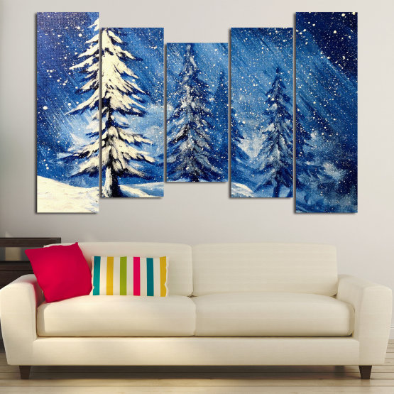 Canvas prints & wall decorative panels - 5 pieces №0870 » Blue, Black, Gray, White, Dark grey » Landscape, Forest, Tree, Snow, Winter, Ice, Season, Weather, Snowflake, Frozen, Frost, Cold Form #4