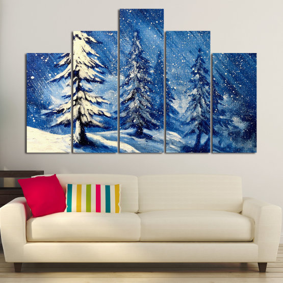 Canvas prints & wall decorative panels - 5 pieces №0870 » Blue, Black, Gray, White, Dark grey » Landscape, Forest, Tree, Snow, Winter, Ice, Season, Weather, Snowflake, Frozen, Frost, Cold Form #5