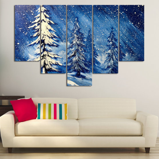 Canvas prints & wall decorative panels - 5 pieces №0870 » Blue, Black, Gray, White, Dark grey » Landscape, Forest, Tree, Snow, Winter, Ice, Season, Weather, Snowflake, Frozen, Frost, Cold Form #6