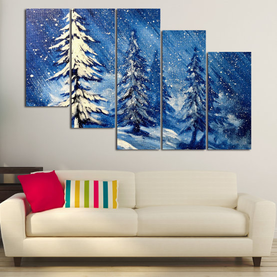 Canvas prints & wall decorative panels - 5 pieces №0870 » Blue, Black, Gray, White, Dark grey » Landscape, Forest, Tree, Snow, Winter, Ice, Season, Weather, Snowflake, Frozen, Frost, Cold Form #7