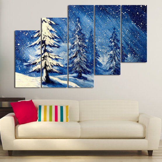 Canvas prints & wall decorative panels - 5 pieces №0870 » Blue, Black, Gray, White, Dark grey » Landscape, Forest, Tree, Snow, Winter, Ice, Season, Weather, Snowflake, Frozen, Frost, Cold Form #8