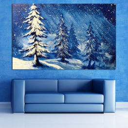 Landscape, Forest, Tree, Snow, Winter, Ice, Season, Weather, Frozen, Snowflake, Frost, Cold » Blue, Black, Gray, White, Dark grey