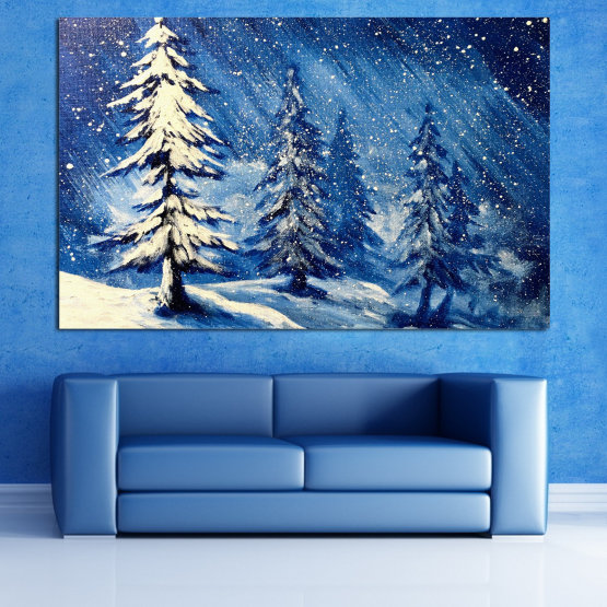 Canvas prints & wall decorative panels - 1 piece №0870 » Blue, Black, Gray, White, Dark grey » Landscape, Forest, Tree, Snow, Winter, Ice, Season, Weather, Snowflake, Frozen, Frost, Cold Form #1
